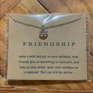 """Friendship"" silver plated anchor necklace"
